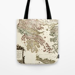 1752 Map of Greece Tote Bag