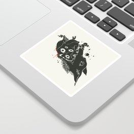 Wolf Eating Anatomical Heart, Gothic Artwork Sticker
