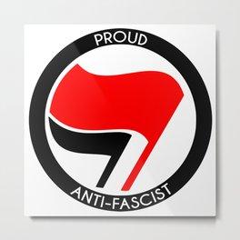 Proud Antifascist (white border) Metal Print