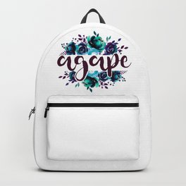 Agape - Christian Watercolor Floral Bible Verse Quote Backpack