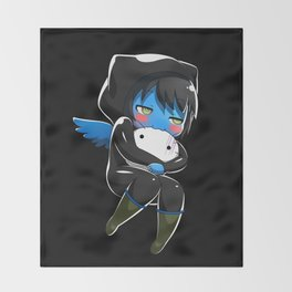 Fuzzy Chibi Luc (Expression 2) w/ Black Background (no cloud) Throw Blanket