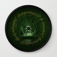 gondor Wall Clocks featuring Lord Of The Ring - Durin Gate by alifart