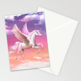 Flying unicorn at sunset Stationery Cards