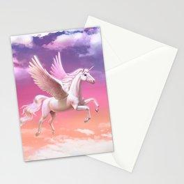Flying unicorn at sunset Stationery Cards