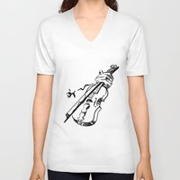 violin V-neck T-shirts featuring Violin by Azure Cricket