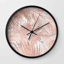 Tropical modern faux rose gold palm tree leaf white marble pattern Wall Clock