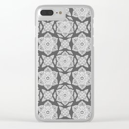 Floral Lotus Mandala Grey Clear iPhone Case