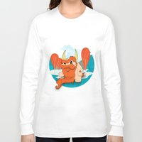 pixies Long Sleeve T-shirts featuring Graggy, the plump Happy Chaos Monster of Scotland by Roxie Rose Design