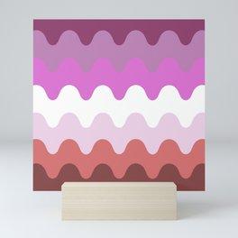 Wavy Lesbian Flag. Mini Art Print