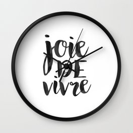 JOIE DE VIVRE, French Quote,French Poster,French Decor,French Saying,Quote Prints,Typography Poster, Wall Clock