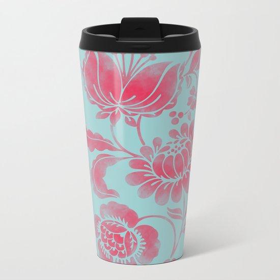 Wild Flower Red Metal Travel Mug