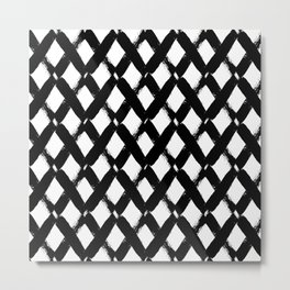 Black and White Criss Cross Pattern Modern Contemporary Metal Print