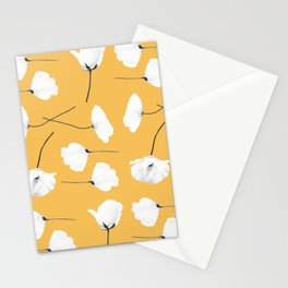 Poppies on mustard Stationery Cards