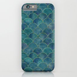 Dark Teal Beautiful Art Magenta Deco Marble Shimmer Mermaid Scales Gold Trim Seamless Pattern iPhone Case