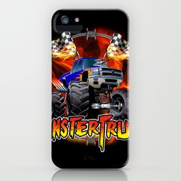 Monster Truck blue on Fire                                          iPhone Case