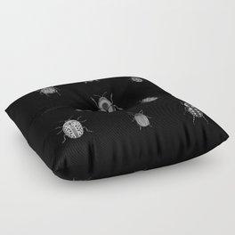 Beautiful Bugs Black Floor Pillow