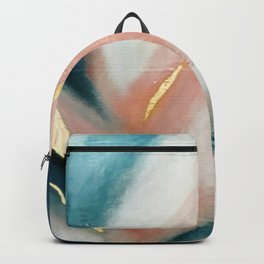 Celestial [3]: a minimal abstract mixed-media piece in Pink, Blue, and gold by Alyssa Hamilton Art Backpack