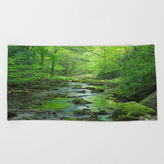 Rocky Forest Creek Beach Towel