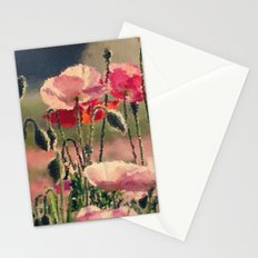 Polka Poppies Pink Red Flowers Abstract Floral Botanical Nature Stationery Cards