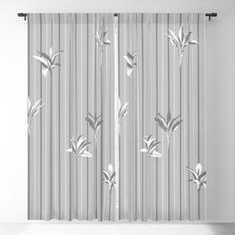 Gray and white Leaves & Lines - Dracena Sanderiana Blackout Curtain