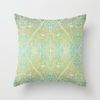 bedding Throw Pillows featuring Mint & Gold Effect Diamond Doodle Pattern by micklyn