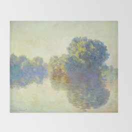 The Seine at Giverny Claude Monet 1897 Impressionist Oil Painting Nature Trees Lake Landscape Throw Blanket