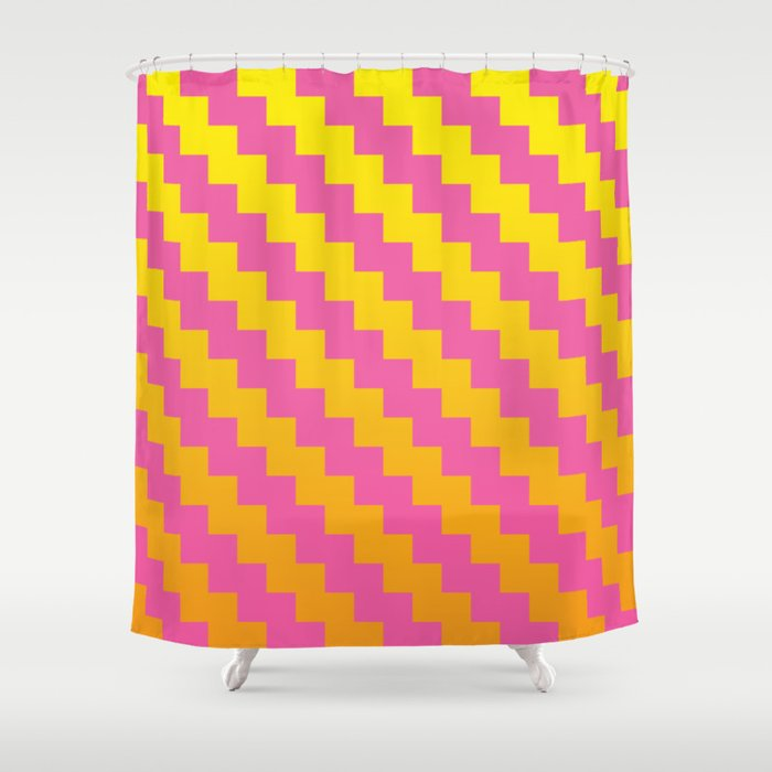 Yellow Orange And Pink Pattern Shower Curtain By