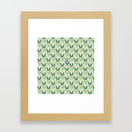 Field of Tulips green background Framed Art Print