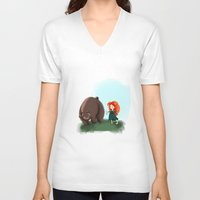 merida V-neck T-shirts featuring Merida by Lenore2411