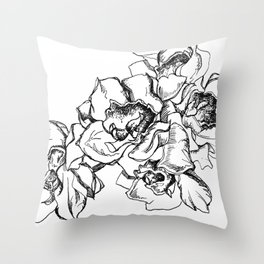 Flowers Line Drawing Throw Pillow
