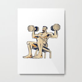 High Intensity Interval Training Dumbbell Etching Metal Print