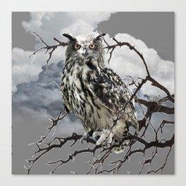 WINTER'S GREY SKIES & WILDLIFE OWL IN TREE Canvas Print