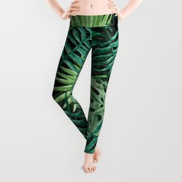 Large Green Fern Palm and Monstera Tropical Plants Leggings