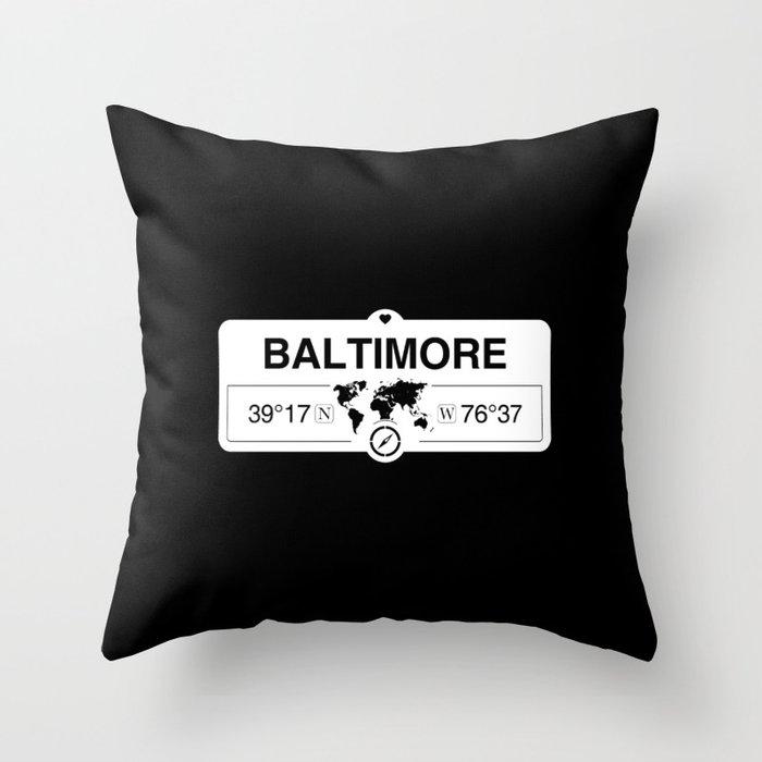 Baltimore Maryland GPS Coordinates Map Artwork with Compass Throw Pillow