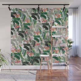 Tropical Leaves with Flowers Wall Mural