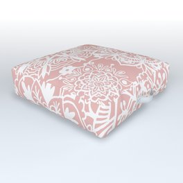 White and Rose Pink Mandala Pattern Outdoor Floor Cushion