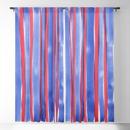 Red and Blue stripes watercolor design 4th of July Blackout Curtain