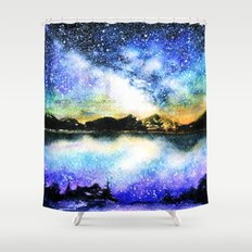 Starry night over the lake Shower Curtain