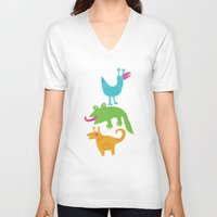 monsters V-neck T-shirts featuring monsters by LOLIA-LOVA