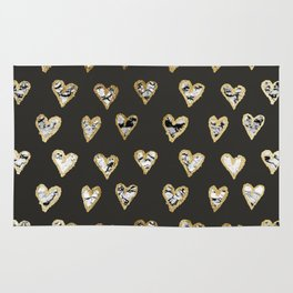 Modern Chic Black White Marble Gold Hearts Rug