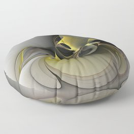 Abstract, Golden Gray Fractal Art Floor Pillow
