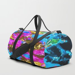 psychedelic splash painting abstract texture in blue pink yellow brown green Duffle Bag