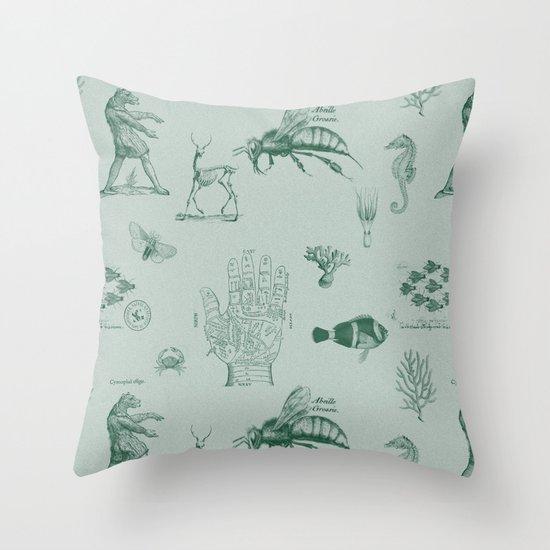 vintage ephemera mint Throw Pillow