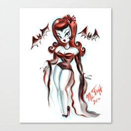 Vampiress with Bats Canvas Print