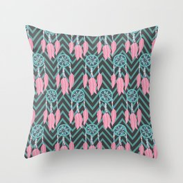 Bohemian Teal Pink Dreamcatcher Chevron Pattern Throw Pillow