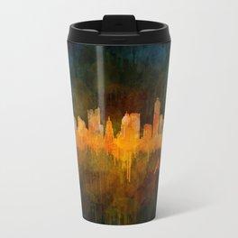 Austin Texas, City Skyline, watercolor  Cityscape Hq v4 Dark Travel Mug