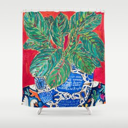 Prayer Plant in Blue-and-White Pot on Swan Table Cloth After Matisse Painting Shower Curtain
