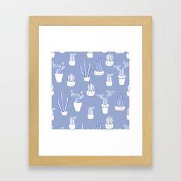 Elegant Blue Cacti in Pots Pattern Framed Art Print