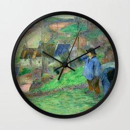 """Paul Gauguin """"Landscape of Brittany - L'Hiver à Pont-Aven, petit Breton et ramasseuse"""" Wall Clock"""