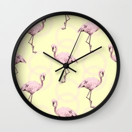 Simply Pink Flamingo Infinity Link Pale Yellow Wall Clock